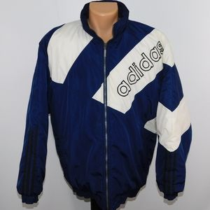 Adidas spell out logo full zip insulated coat. L